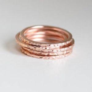 Jewelry - Dainty Rose Gold Minimalist Thin Textured Ring
